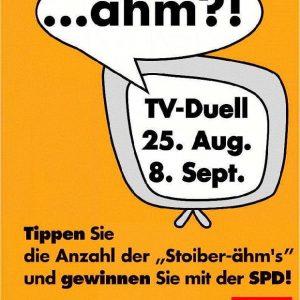Plakat der Erftkreis-SPD zum TV-Duell von Schröder und Stoiber